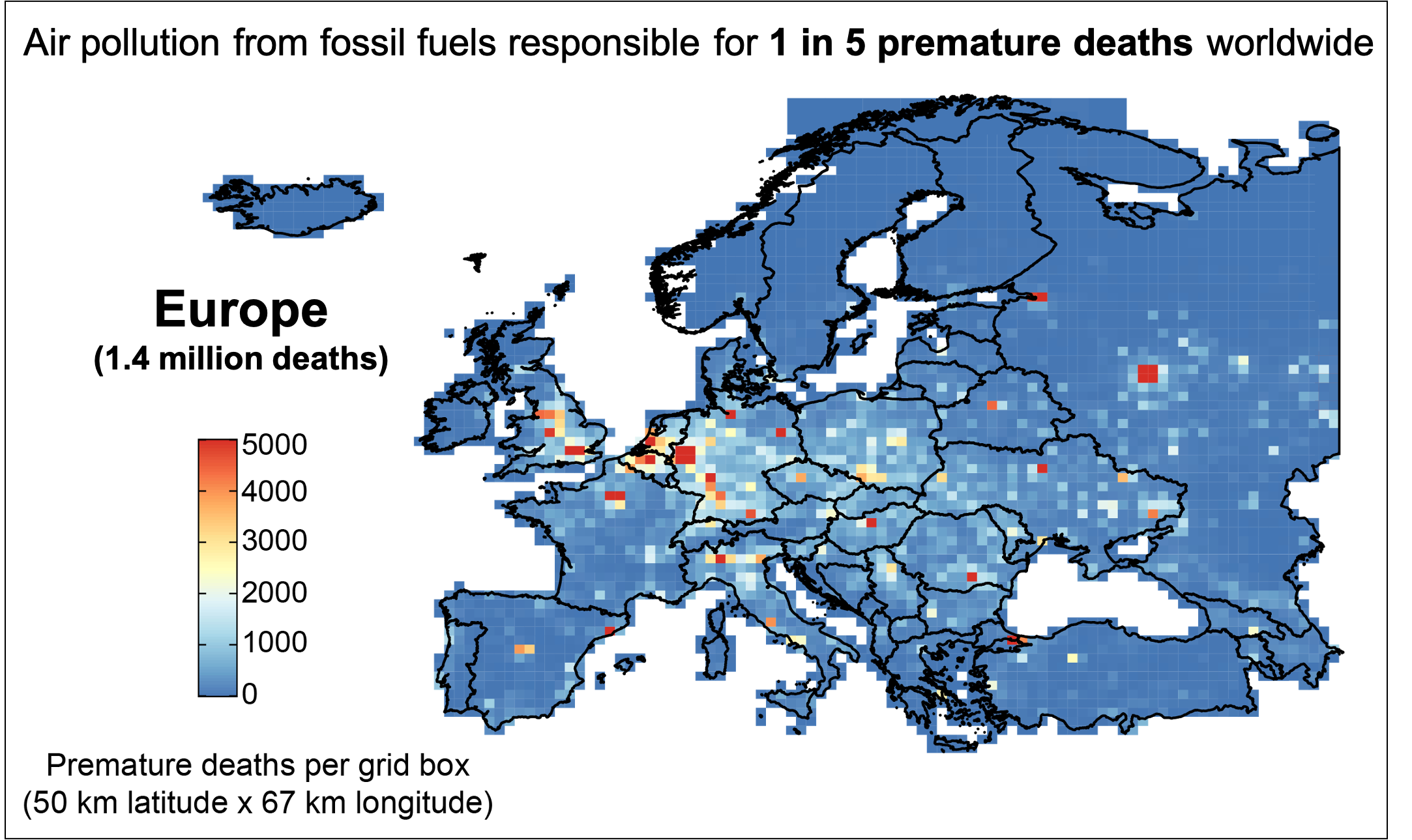 Premature mortality in Europe due to fossil fuel air pollution